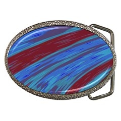 Swish Blue Red Abstract Belt Buckles by BrightVibesDesign