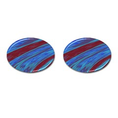 Swish Blue Red Abstract Cufflinks (oval) by BrightVibesDesign
