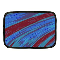 Swish Blue Red Abstract Netbook Case (medium)  by BrightVibesDesign