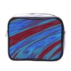 Swish Blue Red Abstract Mini Toiletries Bags by BrightVibesDesign