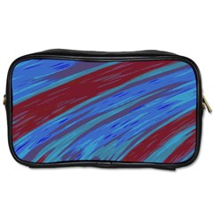 Swish Blue Red Abstract Toiletries Bags 2 Side by BrightVibesDesign