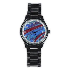 Swish Blue Red Abstract Stainless Steel Round Watch by BrightVibesDesign