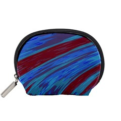 Swish Blue Red Abstract Accessory Pouches (small)  by BrightVibesDesign