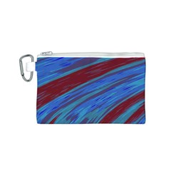 Swish Blue Red Abstract Canvas Cosmetic Bag (s) by BrightVibesDesign