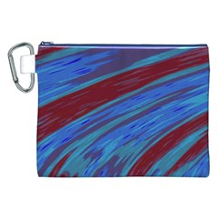Swish Blue Red Abstract Canvas Cosmetic Bag (xxl) by BrightVibesDesign