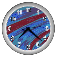 Swish Blue Red Abstract Wall Clocks (silver)  by BrightVibesDesign