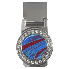Swish Blue Red Abstract Money Clips (cz)  by BrightVibesDesign