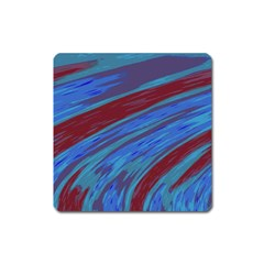 Swish Blue Red Abstract Square Magnet by BrightVibesDesign