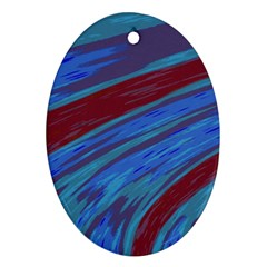 Swish Blue Red Abstract Oval Ornament (two Sides) by BrightVibesDesign