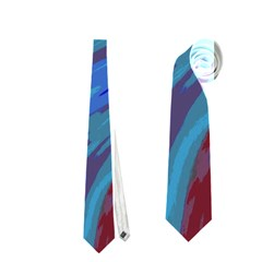 Swish Blue Red Abstract Neckties (one Side)  by BrightVibesDesign
