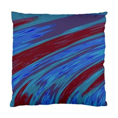 Swish Blue Red Abstract Standard Cushion Case (one Side) by BrightVibesDesign