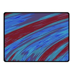 Swish Blue Red Abstract Double Sided Fleece Blanket (small)  by BrightVibesDesign
