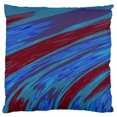 Swish Blue Red Abstract Large Flano Cushion Case (two Sides) by BrightVibesDesign