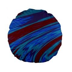Swish Blue Red Abstract Standard 15  Premium Flano Round Cushions by BrightVibesDesign