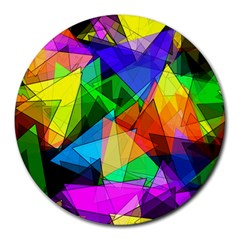 Colorful Triangles                                                                  			round Mousepad by LalyLauraFLM