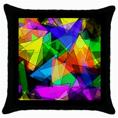 Colorful Triangles                                                                  			throw Pillow Case (black) by LalyLauraFLM