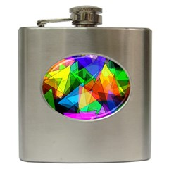 Colorful Triangles                                                                  hip Flask (6 Oz) by LalyLauraFLM