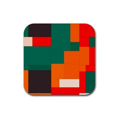 Rectangles And Squares  In Retro Colors                                                                   rubber Square Coaster (4 Pack by LalyLauraFLM