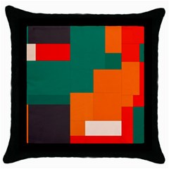 Rectangles And Squares  In Retro Colors                                                                   			throw Pillow Case (black) by LalyLauraFLM