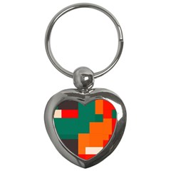 Rectangles And Squares  In Retro Colors                                                                   			key Chain (heart) by LalyLauraFLM