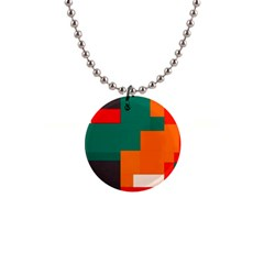 Rectangles And Squares  In Retro Colors                                                                   			1  Button Necklace by LalyLauraFLM