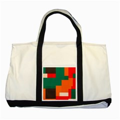Rectangles And Squares  In Retro Colors                                                                   			two Tone Tote Bag by LalyLauraFLM