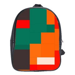 Rectangles And Squares  In Retro Colors                                                                   			school Bag (large) by LalyLauraFLM