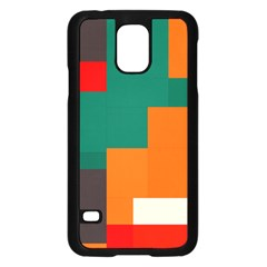 Rectangles And Squares  In Retro Colors                                                                   			samsung Galaxy S5 Case (black) by LalyLauraFLM