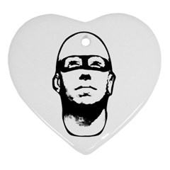 Baldhead Hero Comic Illustration Heart Ornament (2 Sides) by dflcprints