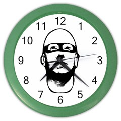 Baldhead Hero Comic Illustration Color Wall Clocks by dflcprints