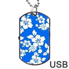 Blue Hawaiian Dog Tag Usb Flash (two Sides)  by AlohaStore