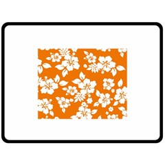 Orange Hawaiian Fleece Blanket (large)  by AlohaStore