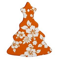 Orange Hawaiian Christmas Tree Ornament (2 Sides) by AlohaStore