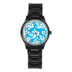 Light Blue Hawaiian Stainless Steel Round Watch by AlohaStore