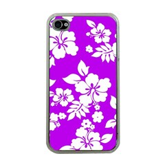 Purple Hawaiian Apple Iphone 4 Case (clear) by AlohaStore