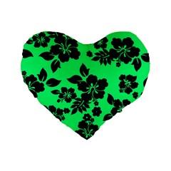 Dark Lime Hawaiian Standard 16  Premium Flano Heart Shape Cushions by AlohaStore