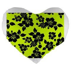 Dark Hawaiian Large 19  Premium Flano Heart Shape Cushions by AlohaStore