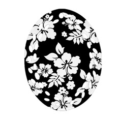 Black And White Hawaiian Oval Filigree Ornament (2 Side)  by AlohaStore