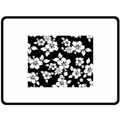 Black And White Hawaiian Double Sided Fleece Blanket (Large)  by AlohaStore