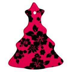 Dark Pink Hawaiian Christmas Tree Ornament (2 Sides) by AlohaStore