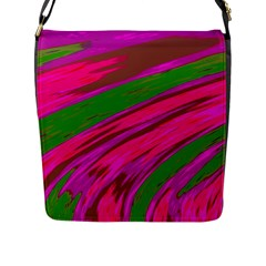 Swish Bright Pink Green Design Flap Messenger Bag (l)  by BrightVibesDesign
