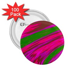 Swish Bright Pink Green Design 2.25  Buttons (100 pack)  by BrightVibesDesign