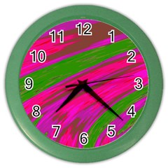 Swish Bright Pink Green Design Color Wall Clocks by BrightVibesDesign