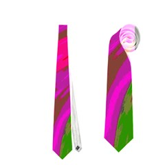 Swish Bright Pink Green Design Neckties (two Side)  by BrightVibesDesign
