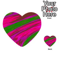 Swish Bright Pink Green Design Multi Purpose Cards (heart)  by BrightVibesDesign