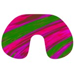 Swish Bright Pink Green Design Travel Neck Pillows Front