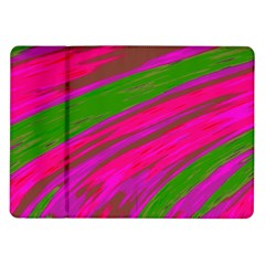 Swish Bright Pink Green Design Samsung Galaxy Tab 10 1  P7500 Flip Case by BrightVibesDesign