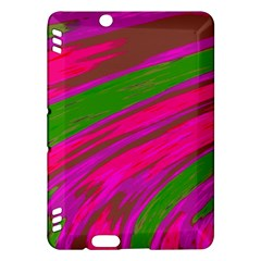 Swish Bright Pink Green Design Kindle Fire Hdx Hardshell Case by BrightVibesDesign
