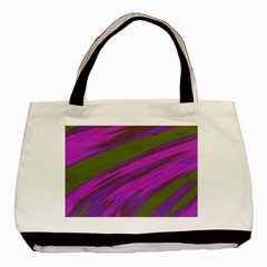 Swish Purple Green Basic Tote Bag (two Sides) by BrightVibesDesign