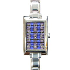 Pattern Tile Blue White Green Rectangle Italian Charm Watch by BrightVibesDesign